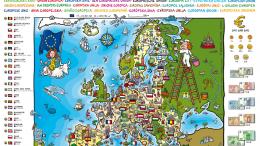 kreslená mapa EU pro děti
